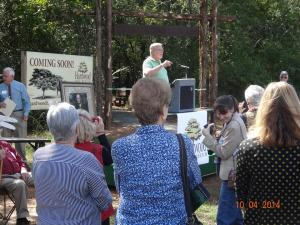 Fort Smith, Arkansas Mayor Sandy Sanders talking at Hardwood Tree Museum trail dedication